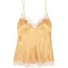Carine Gilson Embroidered lace-trimmed silk-satin camisole (€875) ❤ liked on Polyvore featuring intimates, camis, gold, silk satin camisole, lace trim camisole, cream camisole, carine gilson and lace trim cami