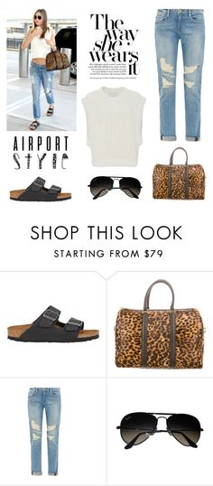 """""""Airport Style: Miranda Kerr"""" by junglover ❤ liked on Polyvore featuring Birkenstock, A.L.C., Frame, Ray-Ban and I Love Mr. Mittens"""