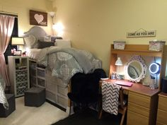 pink and grey dorm room single side                                                                                                                                                      More