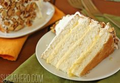 Burnt Almond Cake-  It's a fluffy white cake filled with almond pastry cream, frosted with buttercream, and coated with a thick layer of caramelized onions.
