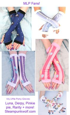My little pony fandom arm warmers and gloves from Steampunk Wolf. Many more styles and ponies available. #rarity #luna #mlp #pinkiepie #derpy