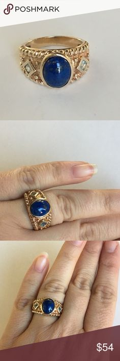 Lapis Blue Topaz Ring Gold and Sterling Silver A stunning ring with Lapis Azul and Blue Topaz set in Gold colored Sterling Silver. I had my jeweler look at this and they said it was Lapis, Blue Topaz, and Sterling Silver with Gold colored plating. Stamped 925. Good used condition with light wear, nothing major. Check out all the photos and use them as part of the description. Approx size 6-7 Vintage Jewelry Rings