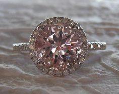 Peachy Pink Morganite in White Gold Diamond Halo Engagement Ring
