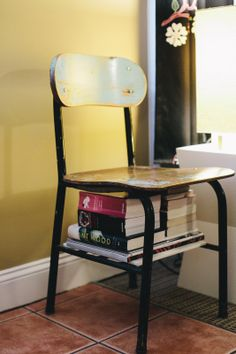 Learn how you can make small spaces work better for you. Book stack chair library