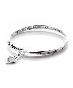 Look at this #zulilyfind! Silver Mother & Child Love Message Charm Bangle by Evening Crystals #zulilyfinds
