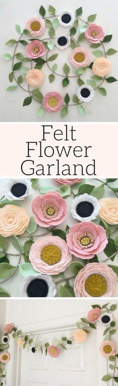 Blush garland // Felt Flower Garland // Floral Garland // Party Garland // Poppies + Roses + Anemones // Floral Decor, Floral Nursery decor #affiliatelink