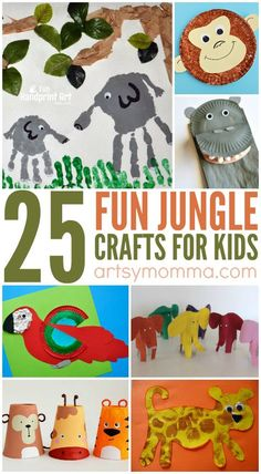 25 fun jungle crafts for kids to make! These are perfect for jungle or safari themed week with preschool and kindergarten kids! After you read or watch The Jungle Book, bring the jungle to you with these fun, easy-to-make Jungle Crafts for Kids. Jungle Crafts Kids, Jungle Theme Crafts, Jungle Theme Activities, Safari Crafts, Preschool Jungle, Jungle Theme Classroom, Animal Crafts For Kids, Vbs Crafts, Crafts For Kids To Make