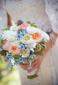 Juliet garden roses, dusty millers, scabiosas, mint, and tweedia. Jamee Photography.