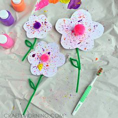 Splatter Flower Craft using a Toothbrush