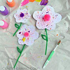 Splatter Flower Craft using a Toothbrush