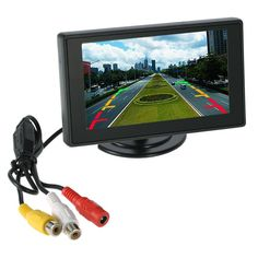 """Professional 4.3"""" LCD Car Monitor Mirror Video Players for Rearview Camera VCD DVD + Suction Cup Bracket"""