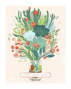Little Terrarium Succulent Illustration by Erin McManness for Minted