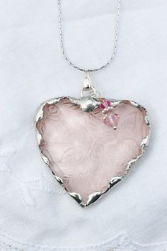 Broken Depression Glass Jewelry, Heart Pendant Necklace, Vintage Pink Depression Glass, Sterling Silver Chain  - Robinsnestcreation1 on Etsy