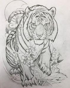 New Drawing Pencil Tattoo Art 31 Ideas Tiger Sketch, Tiger Drawing, Tiger Art, Sketch Drawing, Tiger Outline, Drawing Art, Mandala Tattoo Design, Mandala Art, Japanese Tiger Tattoo