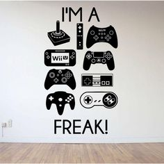 I'm A Freak Gamer Wall Decal. Gaming room or boy's room home decor ideas. Wall a. I'm A Freak Gamer Wall Decal. Gaming room or boy's room home decor ideas. Wall art or wall deco Cute Dorm Rooms, Cool Rooms, Rooms Home Decor, Diy Home Decor, Freak Games, Epic Games, Farmhouse Side Table, Cricut, Ship Lap Walls