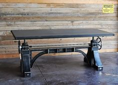 Industrial Crank Table. Where was this when we were looking?! It adjusts to different heights and would have solved the poker/dining table height issue… It is $$$$ tho.