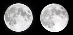This autumn we have celebrated a beautiful full moon night on August 15 of the lunar calendar (=September 19).  The photo shows full moon (left) and the moon of the next night (=Izayoi)..