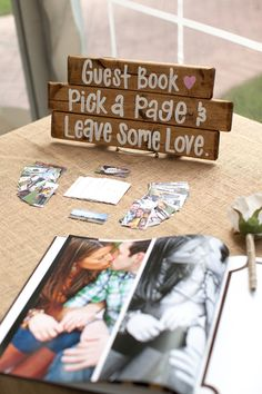 romantic wedding guest book ideas signed on engagement photo album