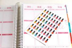 Nail polacco Mani Pedi 48 Planner adesivi, adesivi di Erin Condren Life Planner, Filofax, Gillio, Kikki K