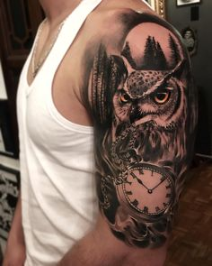 Owl and Watch, tattoo by Alex Bruz