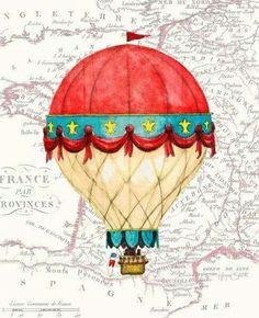 Vintage Red Air Balloon Prints by Hope Smith - Balloon ideas Air Ballon, Hot Air Balloon, Ballon Illustration, Balloon Painting, Printed Balloons, Art Pictures, Art Decor, Art Projects, Lettering