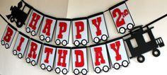 Tren de cumpleaños partido Banner - retro vintage tren, Thomas el tren…