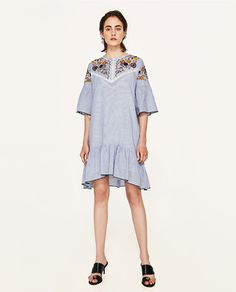 Image 1 of EMBROIDERED STRIPED DRESS from Zara