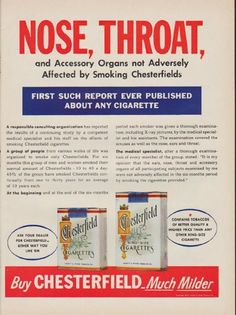 "Description: 1952 CHESTERFIELD CIGARETTES vintage print advertisement ""Nose, Throat"" -- Nose, Throat, and Accessory Organs not Adversely Affected by Smoking Chesterfields ... First Such Report Ever Published About Any Cigarette ... Buy Chesterfield -- Much Milder -- Size: The dimensions of the full-page advertisement are approximately 10.5 inches x 14 inches (26.75 cm x 35.5 cm). Condition: This original vintage full-page advertisement is in Excellent Condition unless otherwise noted."