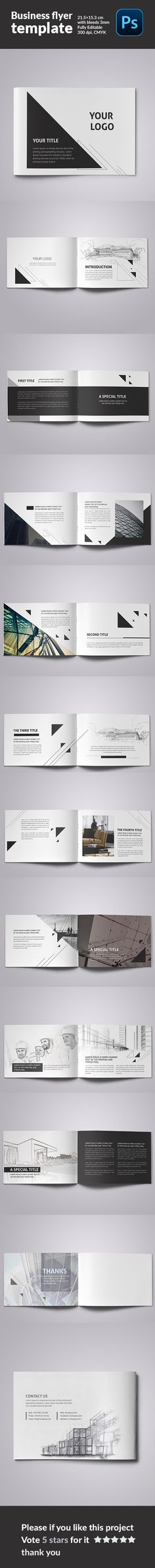 Minimalfolio #6 is a horizontal photography portfolio A4 brochure - pull tab flyer template