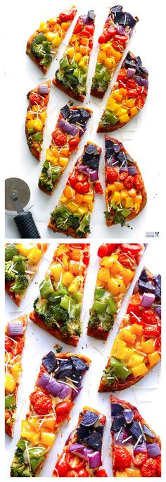 Rainbow Flatbread Veggie Pizza -- the perfect easy recipe to use up those colorful summer veggies! | gimmesomeoven.com #pizza #recipe
