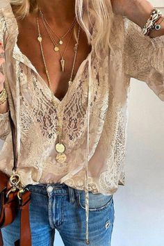 Summer Women Blouses Elegant V Neck Bottoming Long-sleeved Pink Shirt Lace Hook Flower Hollow Casual Shirts Blouse Plus Size 3XL Casual Tops, Casual Shirts, Casual Pants, Khaki Pants, Chemise Fashion, Fashion Blouses, Long Sleeve Tops, Long Sleeve Shirts, Look Fashion