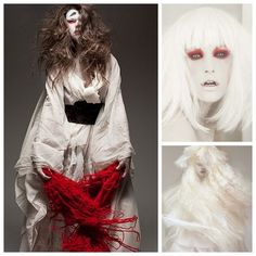 Japanese ghost costume  All you need is white makeup, eyes rimmed with black liner and red eyeshadow, white sheets tied with a thick belt, handfuls of red yarn (attached to wrists with elastic), and (optionally) a white wig. Simple but eerie.