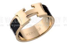 Hermes Replica Black Ceramic Logo Cut Gold Ring Replica Hermes Rings
