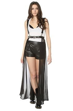 MKL Collective- The Strapped Up Skirt. Warm up to your dominant side with this harness style pinafore skirt from *MKL Collective. It features a sheer chiffon skirt with a faux leather waist-belt and suspenders. $68