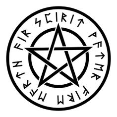 Wiccan White Pentagram- love the use of runes