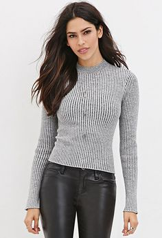 Buy it now. FOREVER21 Women's  Cropped Sweater Top. ribbed knit sweater,fitted sweater , topcorto, croptops, croptops, croptop, topcrop, topscrops, cropped, bailarina, topbailarina, corto, camisolacorta, topcortoestilobandeau, crop, bralet, strappybralet, bandeautop. Gray,black FOREVER21  crop top  for woman.