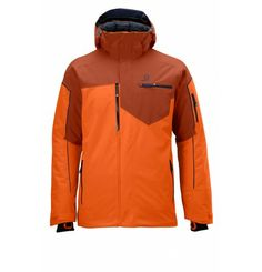 Brillant Jkt M Orange, by Salomon - Versatile insulated ski jacket with a removable hood and a clean modern look with great performance on cold days. Nike Jacket, Rain Jacket, Snow Wear, Streetwear, Ski Fashion, Street Outfit, Sport, Skiing, Hooded Jacket