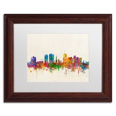 Michael Tompsett 'Christchurch New Zealand Skyline' Matte, Wood Framed Canvas Wall Art