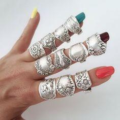 Boho Rings, Boho Jewelry, Handmade Jewelry, Jewelry Rings, Jewellery, Silver Spoons, Silver Rings, Silver Spoon Jewelry, Silverware Jewelry