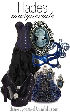 """Hades"" by disney-villains on Polyvore (If I ever go to a masquerade ball, that dress will be it!)"