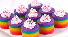 Rainbow Cake Jello Shots!!.