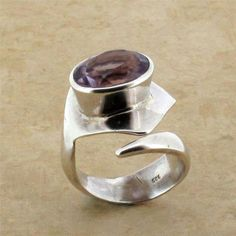 Purple Amethyst Ring Sterling Silver Faceted Gemstone Jewelry Semi Prescious
