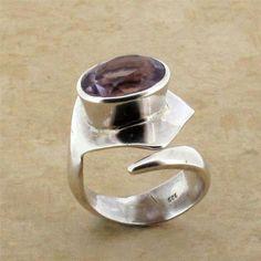 Purple Amethyst Ring Sterling Silver Faceted Gemstone Jewelry Semi Prescious
