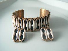 Vintage Renoir Matisse Copper And White Enamel Bracelet Earrings Set - Vintage Lane Jewelry - 1