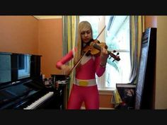 Girl plays the Mighty Morphin Power Rangers theme song IN PINK RANGER COSTUME