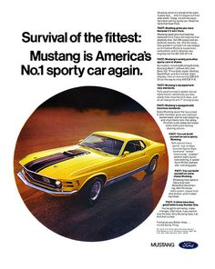 1970 Ford Mustang Mach 1 ad poster    Repinned by www.eddiemercer.com in Pensacola, FL