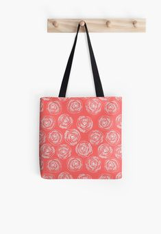 Coral pink and white 'Doodle Roses' tote bags by Notsundoku | Redbubble. A repeat pattern of hand drawn doodle roses. #repeatpattern #patterns #roses #doodles #doodleart #flowers #handdrawn #Notsundoku #Redbubble #totebag #bags