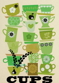 "cups, green - art print Illustration, retro style art, ""cups green"", high quality print Sevenstars Treasurebox by Elisandra Etsy Art And Illustration, Food Illustrations, Art Surf, Tee Kunst, Color Lavanda, Motif Vintage, Stoff Design, Poster Online, Tea Art"