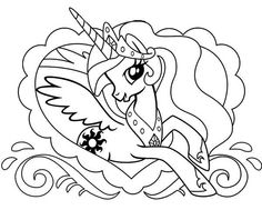 pony princess celestia in love frame my little pony coloring page - Pony Coloring Pages