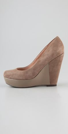 Steven    Noted Suede Wedge Pumps